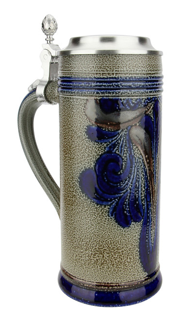 Stylized Brown Blue Salt Glaze Stoneware Beer Stein | 0.5 Liter