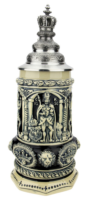 Medieval Holy Roman Emperor Beer Stein Cobalt with Crown Lid