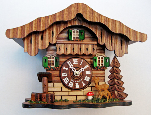 German Chalet with Deer Mini Mantle Clock | Musical