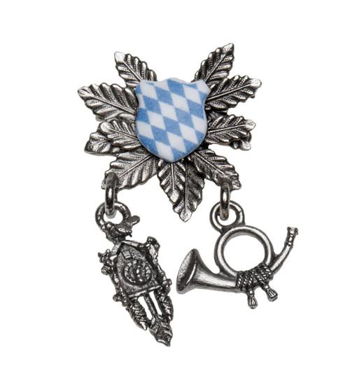 Bavaria Crest Cuckoo Clock and Horn German Hat Pin