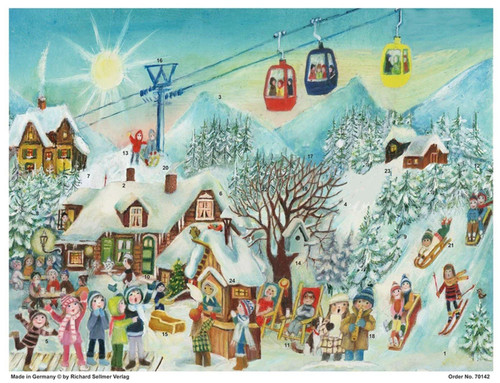 First Snow Celebration at the Ski Resort German Advent Calendar