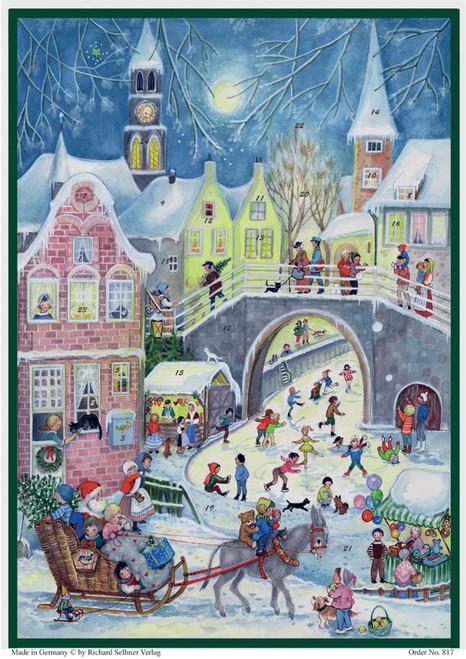 Santa Sleigh Ride to Town German Paper Advent Calendar