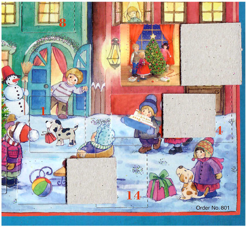 Santa Claus Sleigh Ride German Paper Advent Calendar
