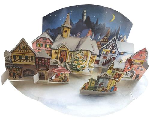 Moonlit Village Christmas Market 1955 Reproduction 3D German Advent Calendar