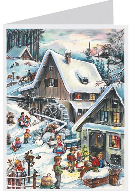 Winter Watermill German Advent Calendar Christmas Card