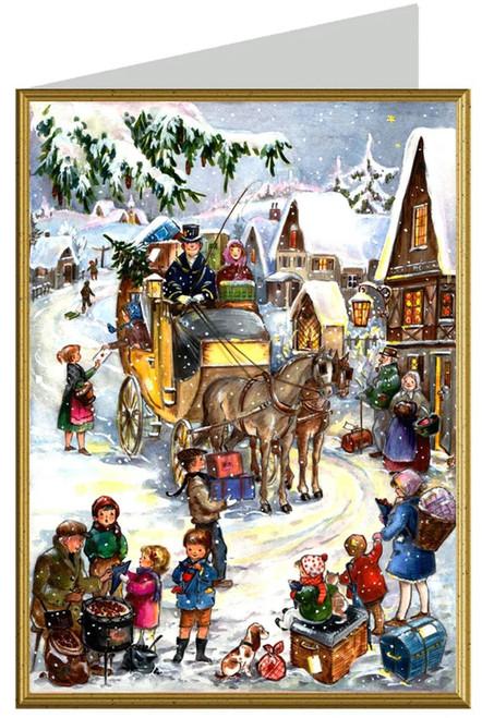 Christmas Stagecoach German Christmas Card
