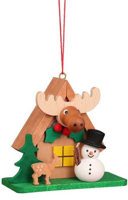 Elk House with Snowman Wooden German Christmas Ornament