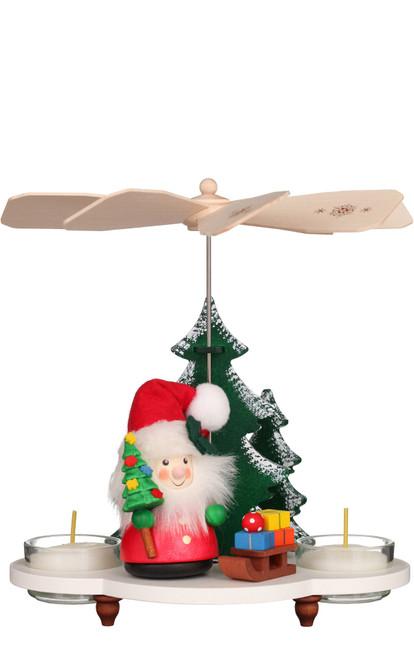 Santa with Sled German Wooden Christmas Pyramid