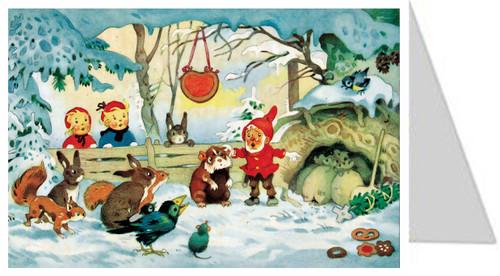 Hamster Cave German Advent Calendar Christmas Card