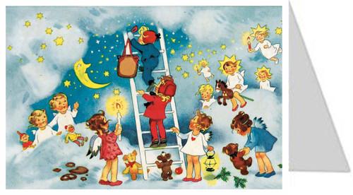 Ladder in the Heavens German Advent Calendar Christmas Card
