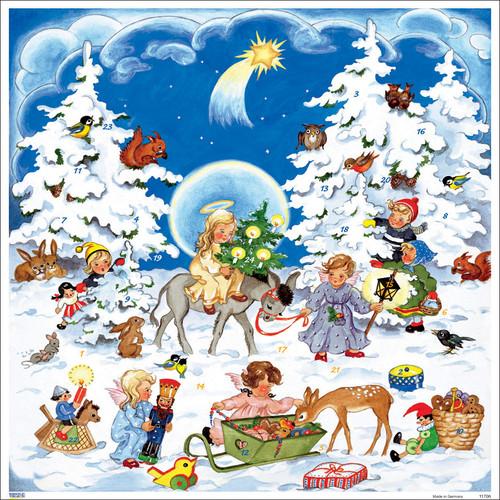 Angels and Donkey German Christmas Advent Calendar