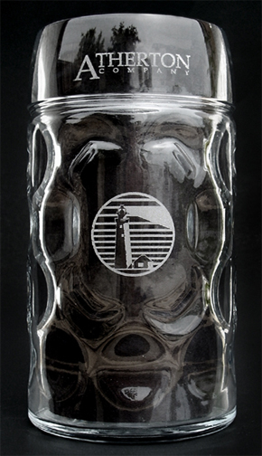 1 liter Oktoberfest glass mug with custom logo engraving