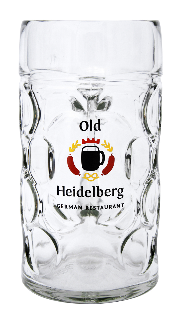 German glass beer mug with custom laser engraving