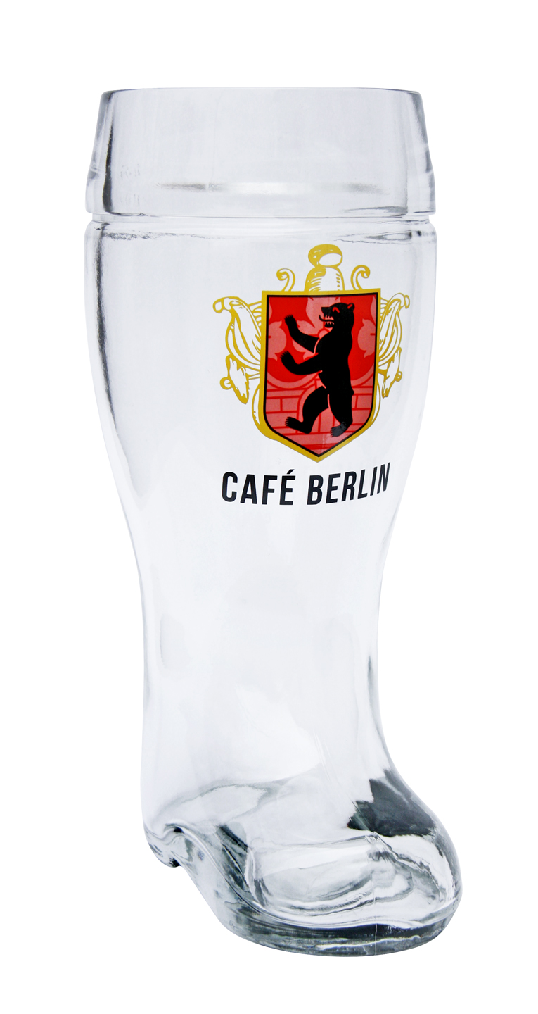 custom decorated glass beer boot 1 liter