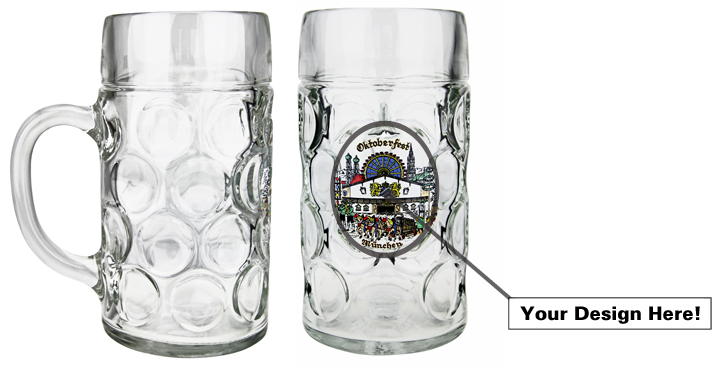 1L german beer stein with custom, color image added to front