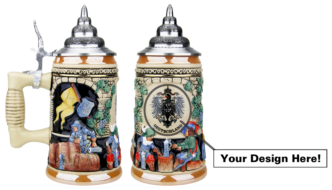 Custom Designed German Ceramic Beer Steins with Pewter Lids