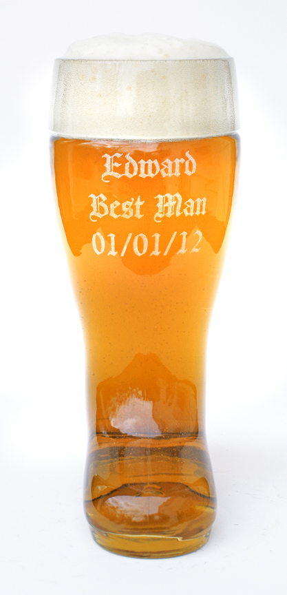 Half Liter Glass Beer Boot with Custom Message Laser Engraved
