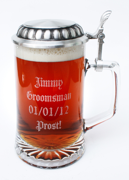 Glass beer stein with custom laser engraving with pewter lid