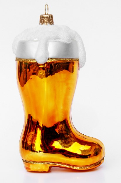German Glass Xmas Ornament Beer Boot Style