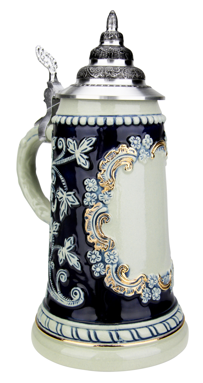 Cobalt Blue Glaze Half Liter Stoneware German Beer Mug with Gold Accents for Custom Logo