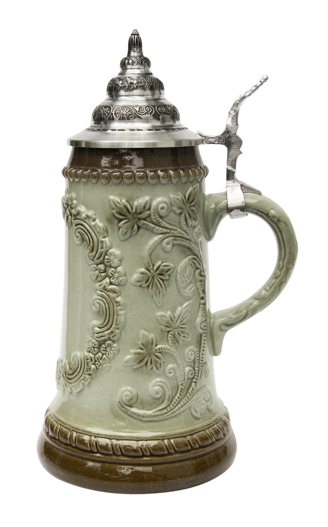 german-stein-for-beer-king-werk-olive-glaze-finish-side-view