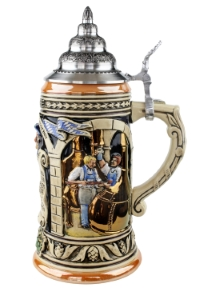 Ceramic beer stein with pewter lid