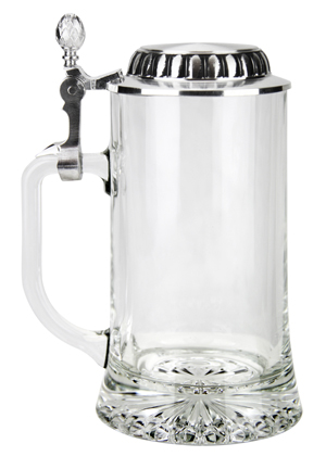 Glass German Stein with Pewter Lid