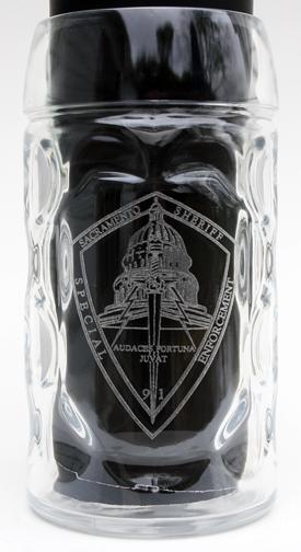 1 liter glass dimpled mug with custom logo engraving