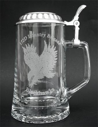 German glass beer stein with lid and custom laser engraving