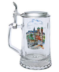 Munich Glass Beer Stein with Pewter Lid