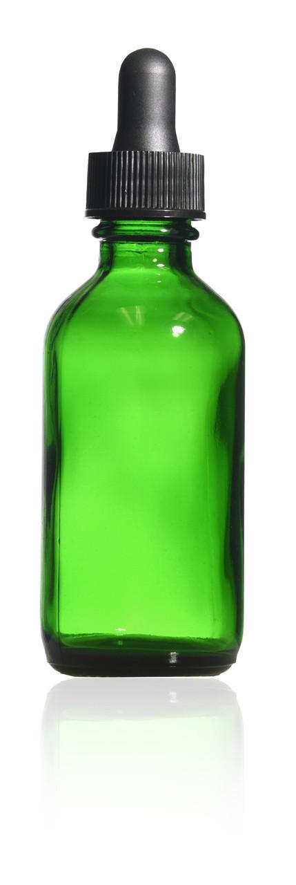 2 oz  Green Boston Round Bottle with glass dropper