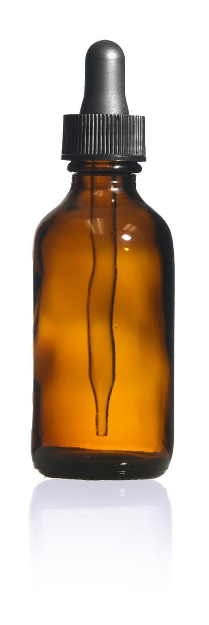 2 oz  Amber Boston Round Bottle with glass dropper