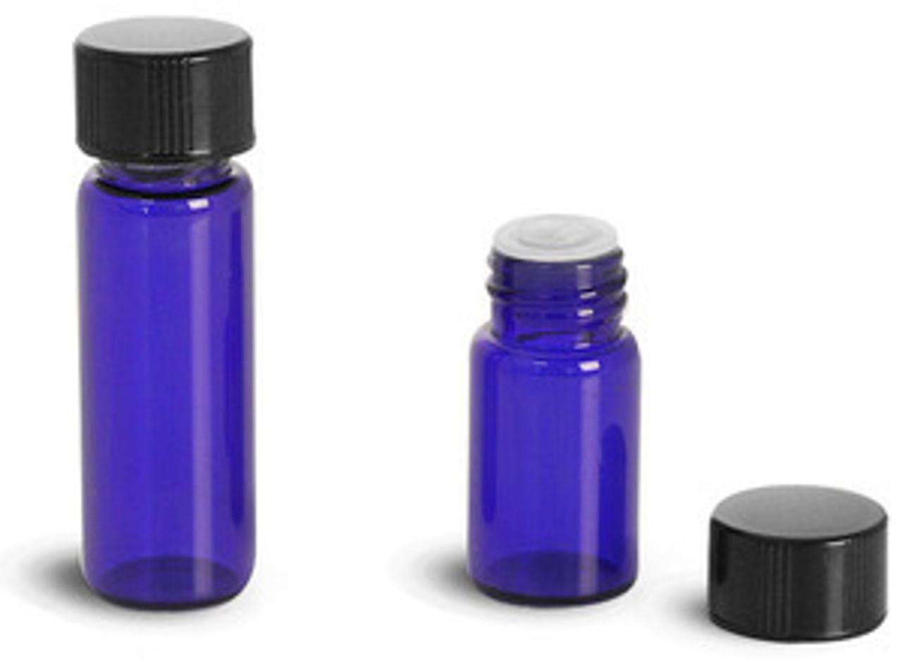 5/8 Dram Cobalt Blue Vials with Orifice Reducer & Caps