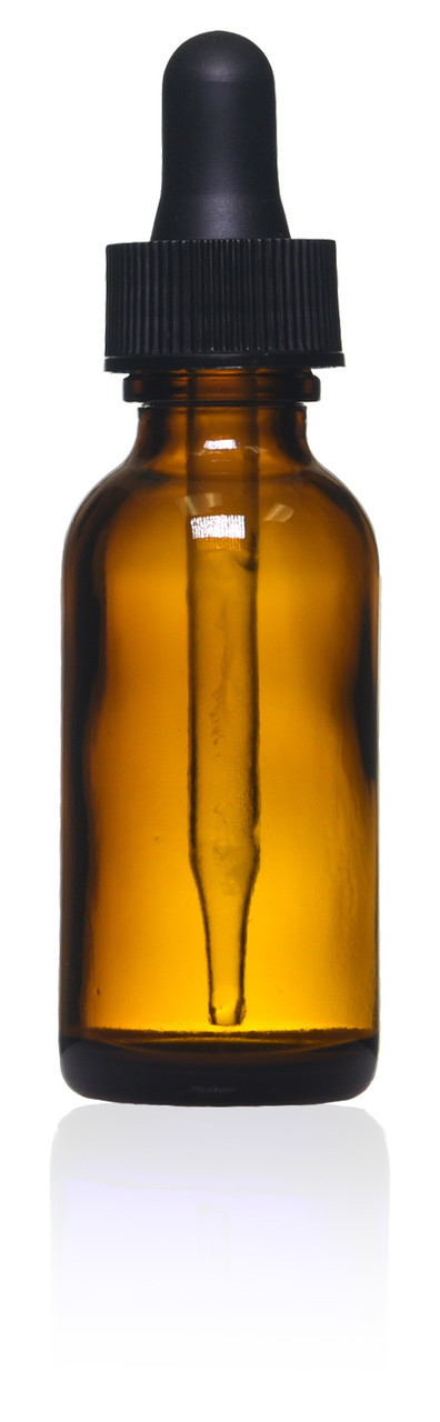 1 oz Amber Boston Round Glass Bottle with Dropper