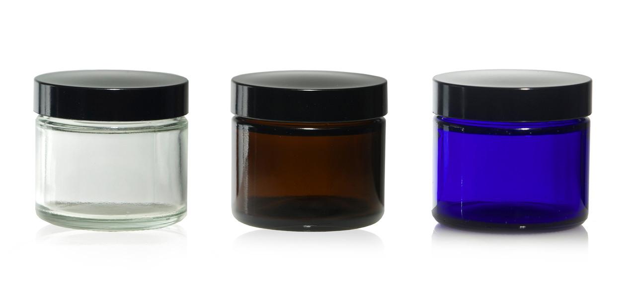 2 oz Straight Sided Glass Jars W/Black Smooth Foam Lined Caps
