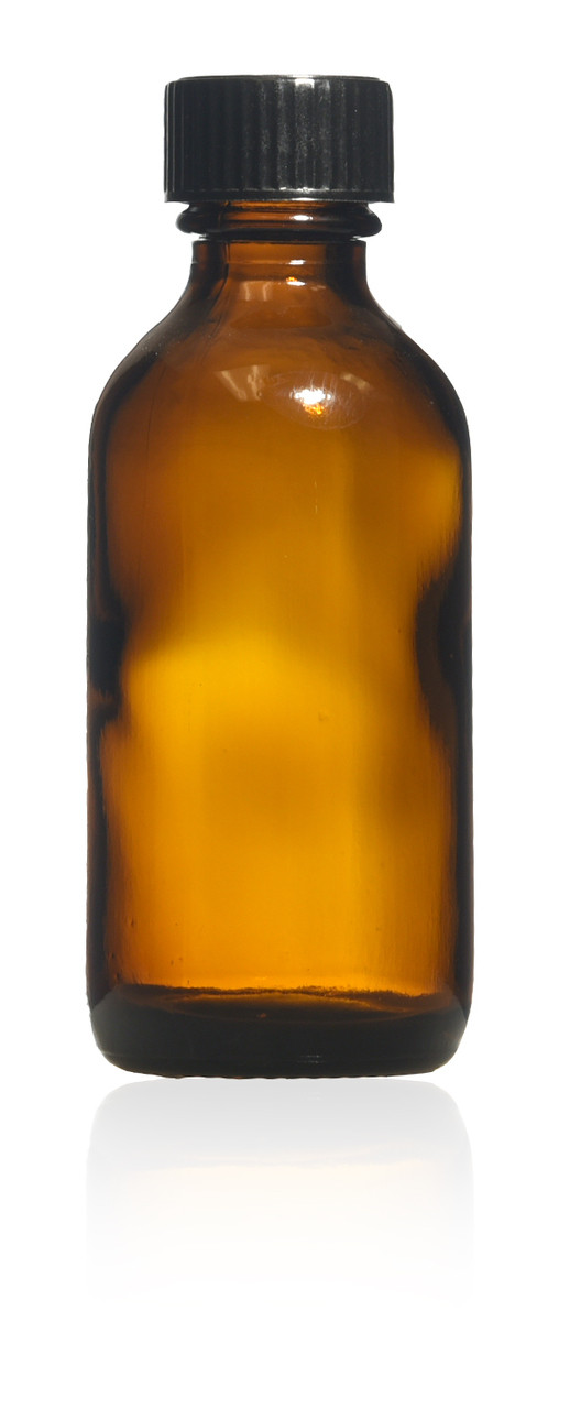 2 oz Amber Boston Round Glass bottle with caps