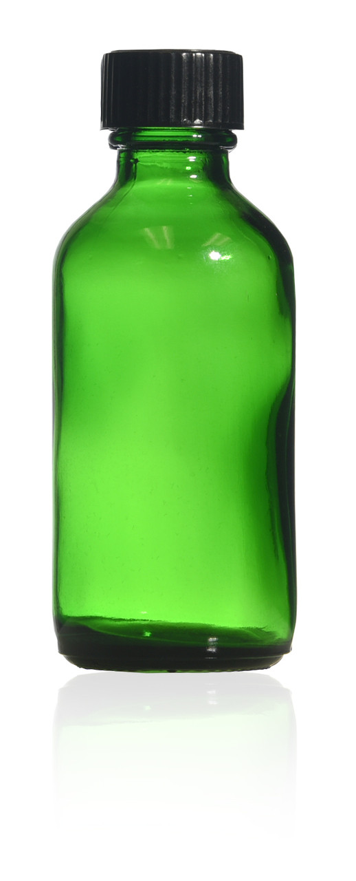 2 oz Green Boston Round Glass bottle with caps