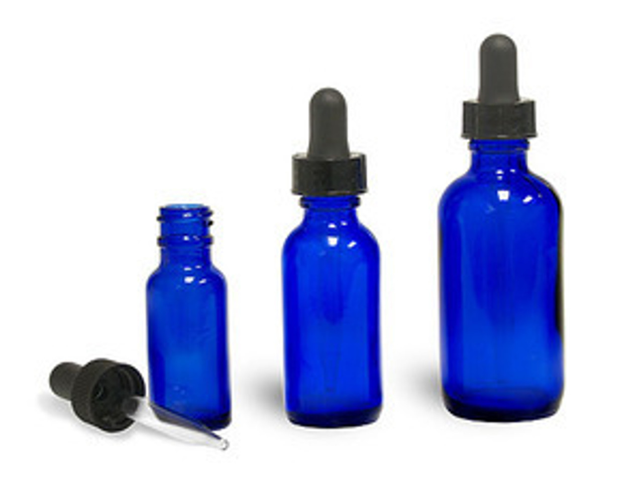 15 ml,1/2 oz Boston Round Cobalt Blue Bottles with Child Resistant Droppers