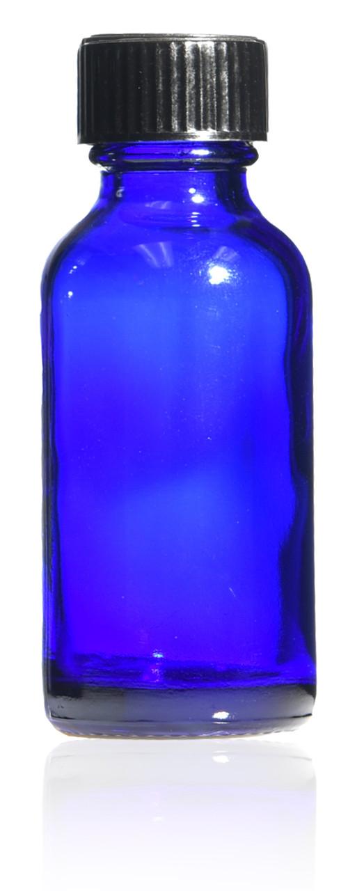 1 oz, (30ml) Boston Round Glass Bottle w/Cone Caps