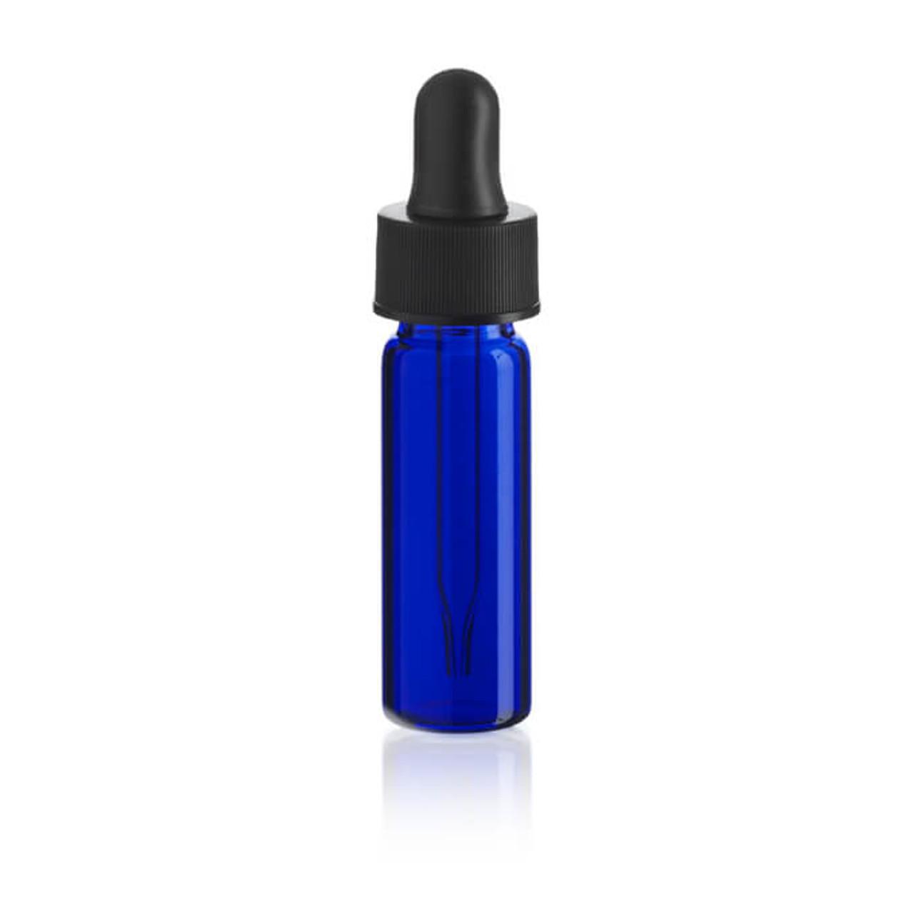1 dram cobalt blue glass vials with dropper