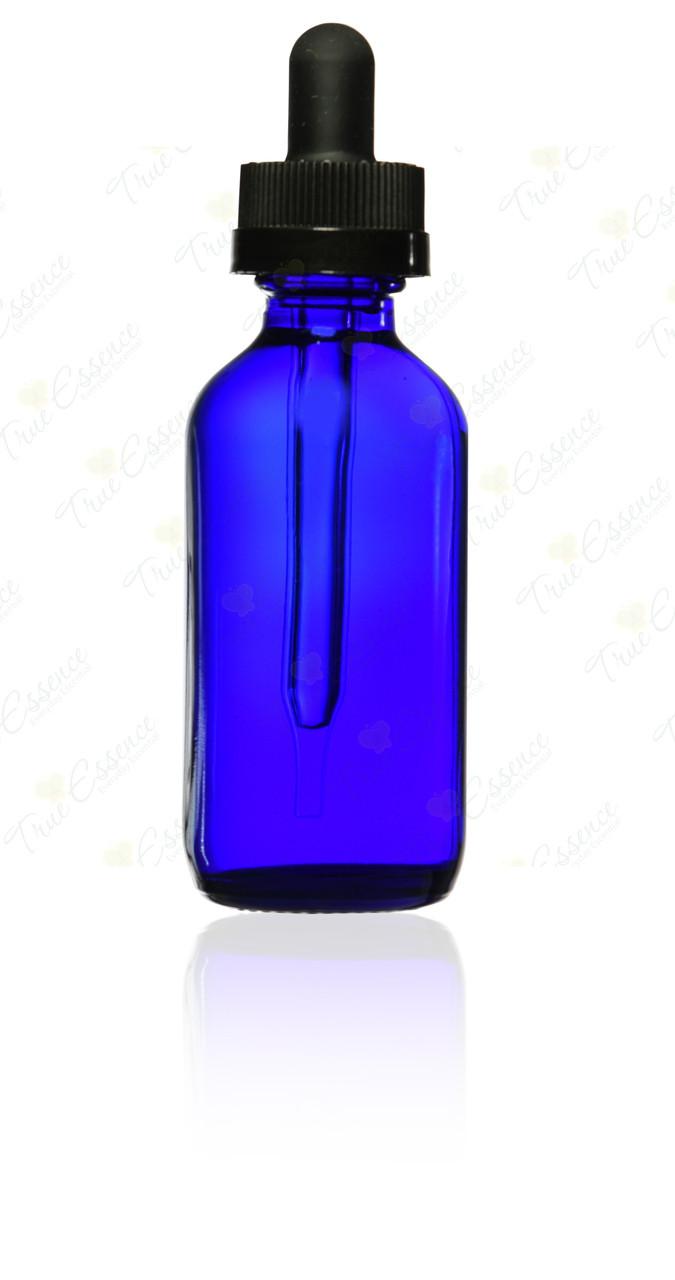 2 oz cobalt blue Boston Round child Resistant Dropper