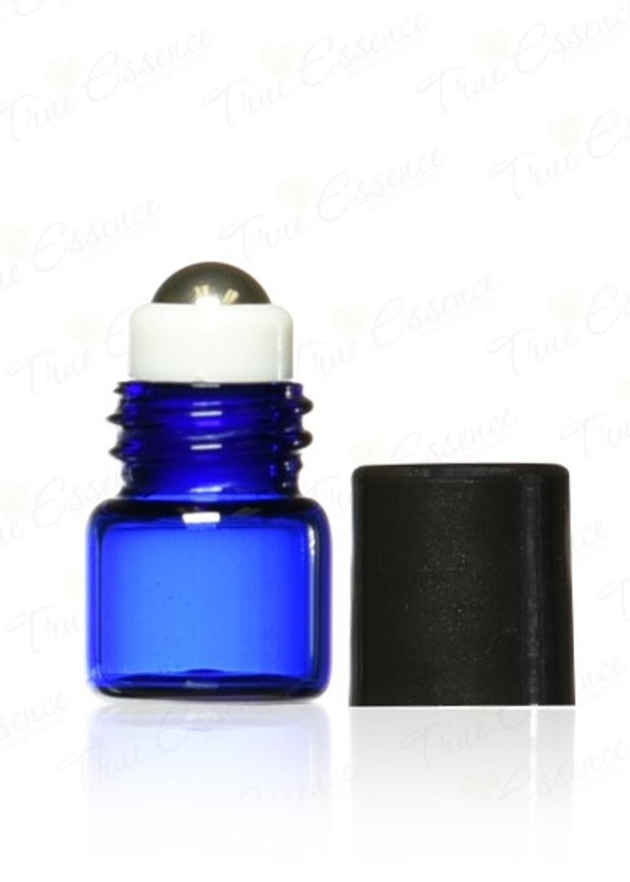 1 ml Mini Glass Vials w/Steel Roll on Ball & Black Caps (15x22mm)