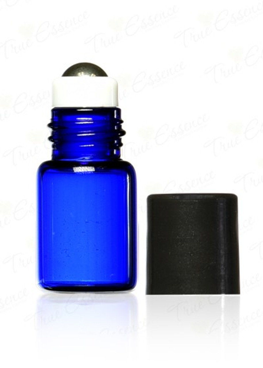 3 ml Cobalt Blue Glass Vials with metal roll on bottle