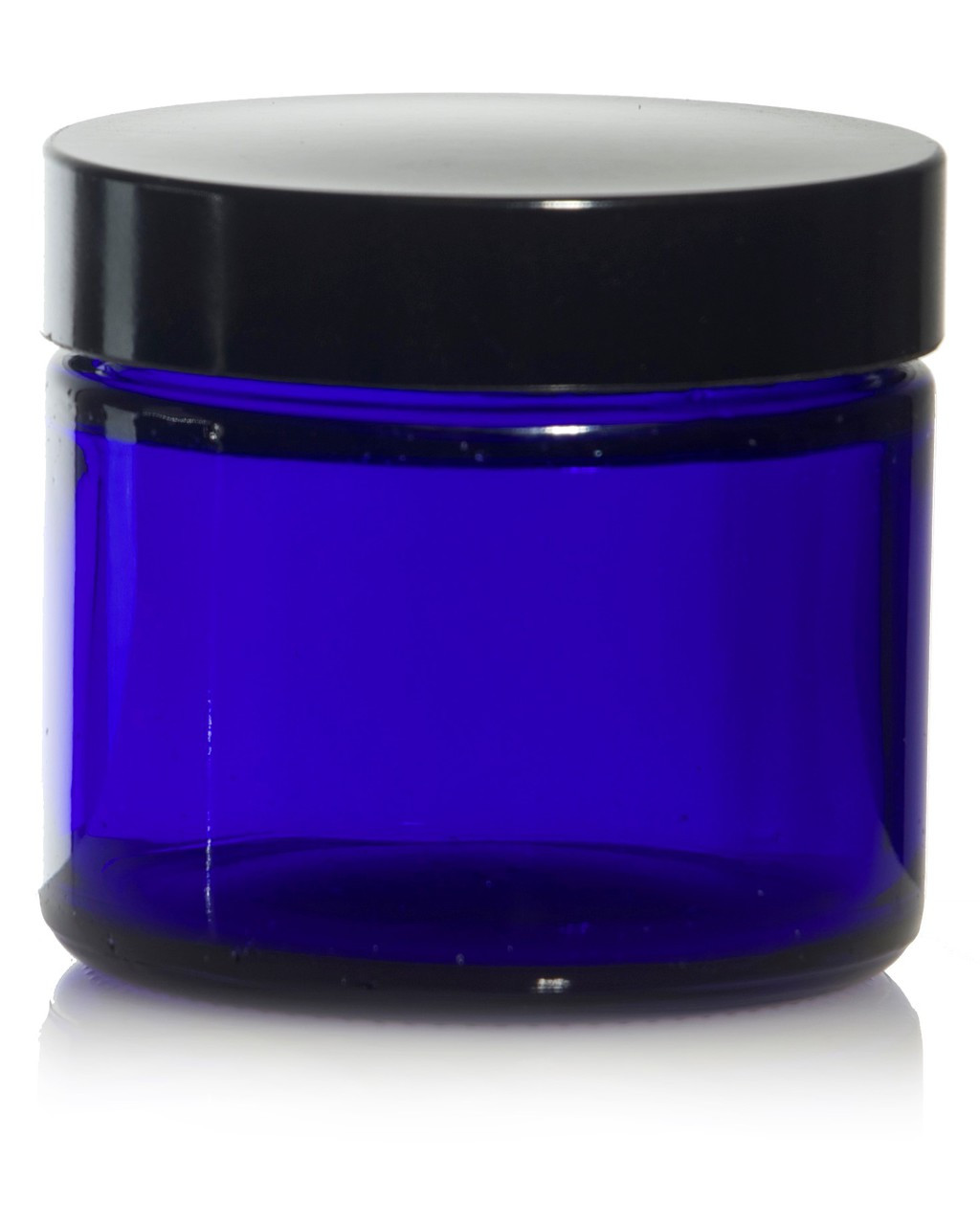 2 oz Cobalt BLUE GLASS Jar Straight Sided w/ Plastic Lined Caps