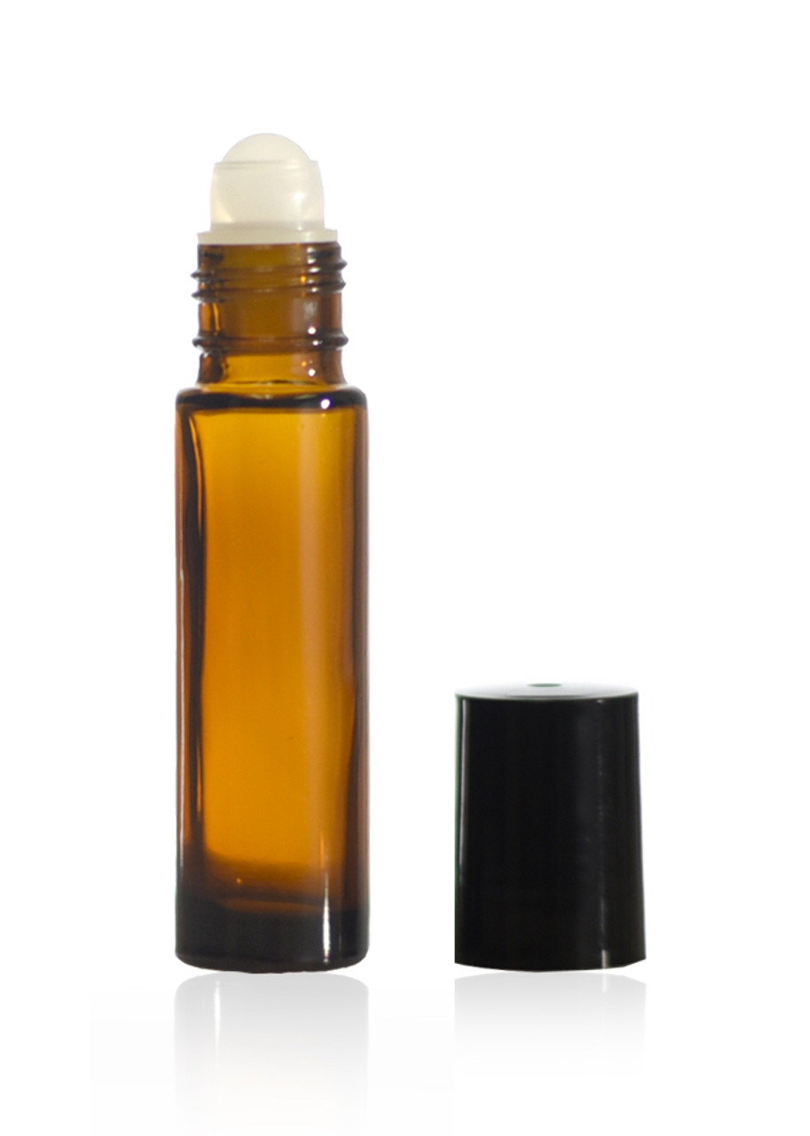 10 mL amber roll on bottles with plastic ball