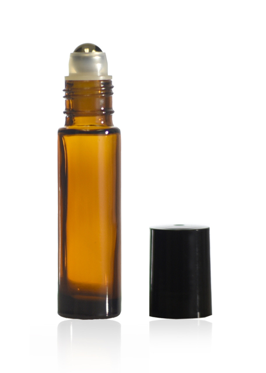 10 mL amber roll on bottles with steel ball