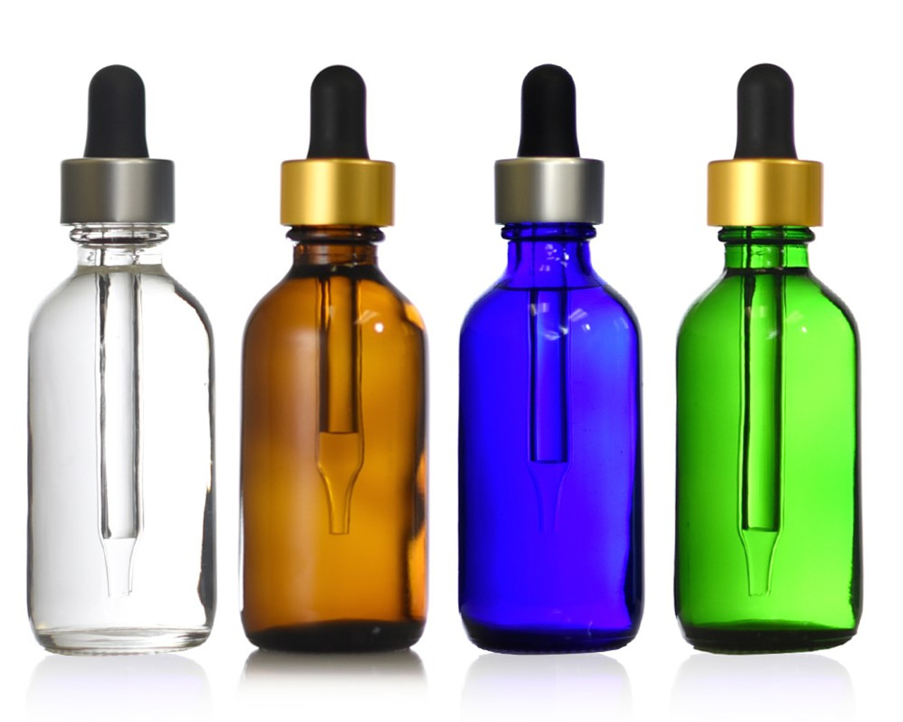 2 oz (60 ml) Boston Round Bottles W/ Metallic Glass Dropper