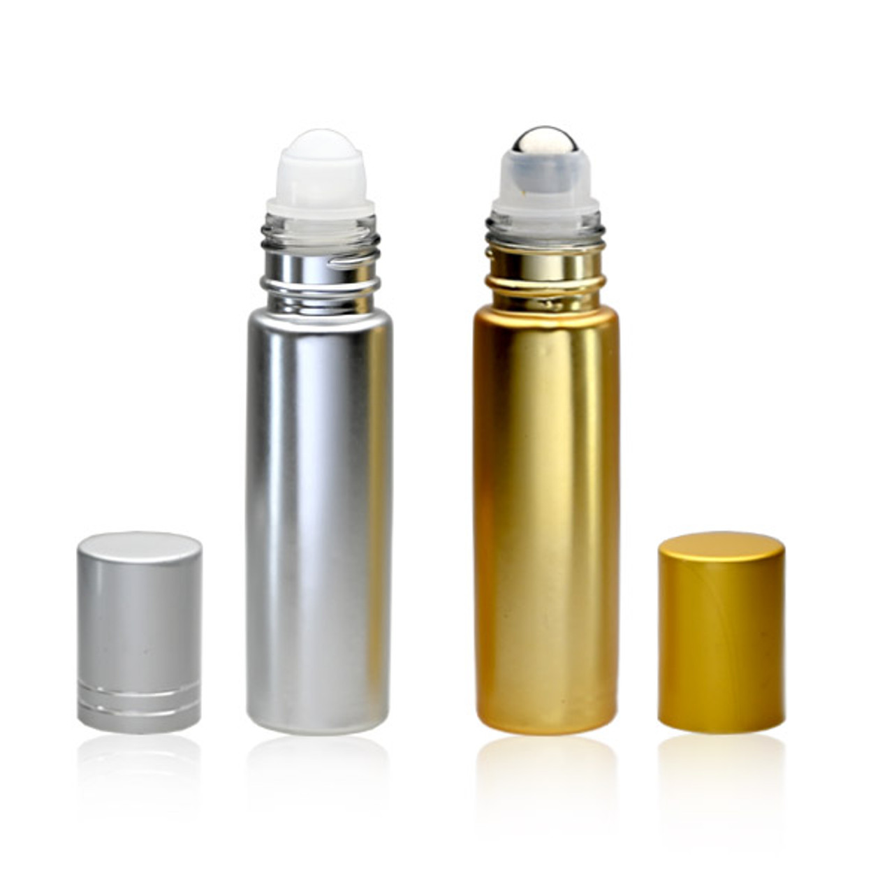 10 ml (1/3oz) Metallic Roll On Bottles W/Metallic Caps