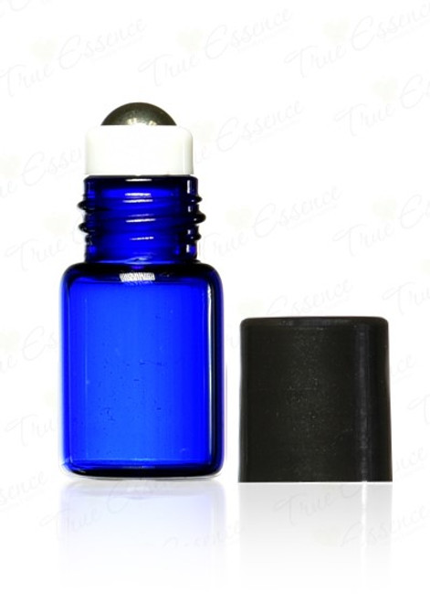 3 ml Cobalt Blue Glass Vials with metal roll on bottle