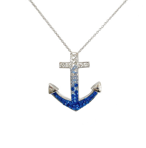 Anchor Necklace- Blue And White IP-120